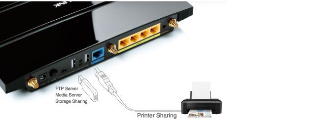 TP-Link Archer C7 : 2 ports USB 2.0 pour le partage de périphériques