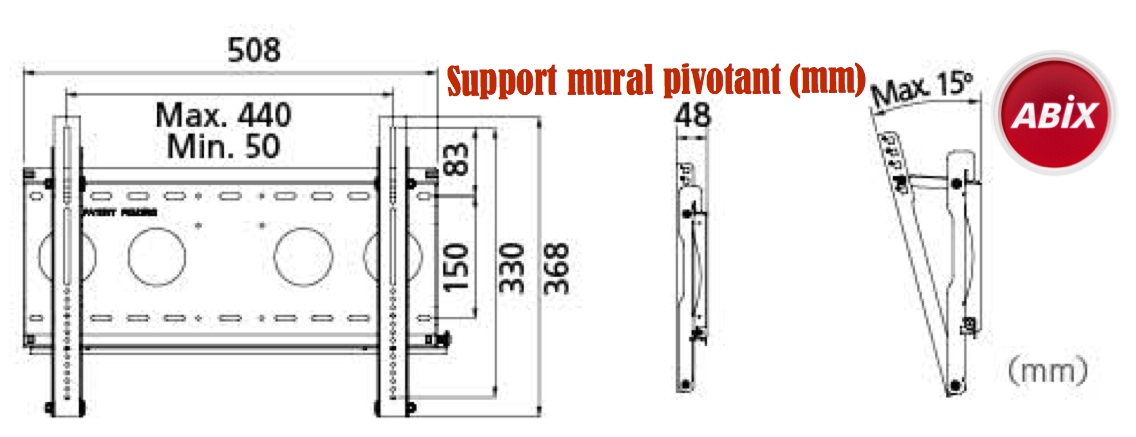 support mural pivotant LCD / Plasma 26 pouces à 52 pouces