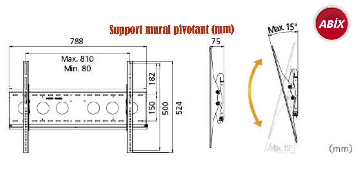 support mural pivotant pour ecran 32'' a 65''