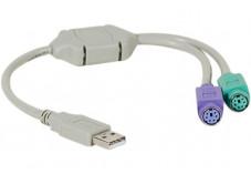 Convertisseur USB - 2  prises Clavier/Souris en PS2 MiniDin6