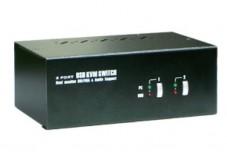 Dexlan switch KVM double DVI-I / USB / Audio 2 ports + câbles