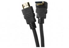 Câble HDMI HighSpeed Ethernet brassage - coude  noir 1m