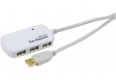 Rallonge amplifiée USB 2.0 12m avec hub 4 ports