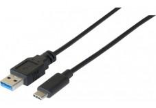 DACOMEX Sachet cordon USB 3.2 Gen1 Type-A / Type-C noir- 1 m