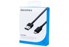 DACOMEX Cordon réversible USB 2.0 Type-A - micro USB B noir - 1 m