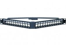 DEXLAN Panneau 1U angulaire 24 ports STP keystone avec supp cables