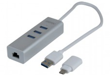 Adapt. USB 3.0 metal Gigabit + HUB + Convert. USB Type C