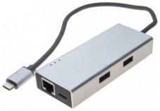 Adaptateur Type-C Gigabit Hub USB 3.1 2 ports Type A + chargeur USB P.D.
