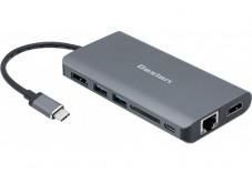DEXLAN Dock USB Type-C HDMI+DP 4K-LAN-HUB+SD2.0+Charg.PD3.0