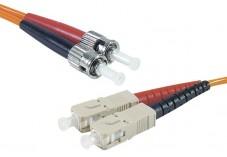 Jarretière optique duplex multimode OM1 62,5/125 SC-UPC/ST-UPC orange - 10 m