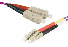 Jarretière optique duplex multimode OM3 50/125 SC-UPC/LC-UPC violet - 1 m