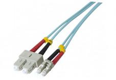 Jarretière optique duplex multimode OM3 50/125 SC-UPC/LC-UPC aqua - 2 m