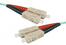 Jarretière optique duplex multimode OM4 50/125 SC-UPC/SC-UPC aqua - 20 m
