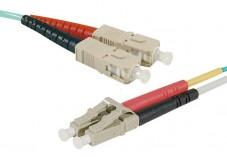 Jarretière optique duplex multimode OM4 50/125 SC-UPC/LC-UPC aqua - 1 m
