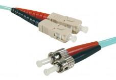 Jarretière optique duplex multimode OM4 50/125 SC-UPC/ST-UPC aqua - 2 m