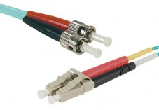 Jarretière optique duplex multimode OM4 50/125 LC-UPC/ST-UPC aqua - 15 m