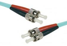 Jarretière optique duplex multimode OM4 50/125 ST-UPC/ST-UPC aqua - 2 m