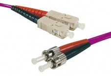 Jarretière optique duplex multimode OM3 50/125 SC-UPC/ST-UPC violet - 1 m