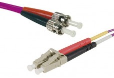 Jarretière optique duplex multimode OM3 50/125 LC-UPC/ST-UPC violet - 10 m