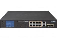 PLANET GSD-1222VHP SWITCH LCD 10P GIGABIT 8 PoE+ 120W & 2 SFP