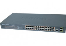 Planet switch Niv2 24P Gigabit PoE+ 300W et 2 ports SFP