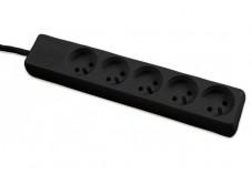 DEXLAN Multiprise 5 prises sans interrupteur noire - 1,5 m