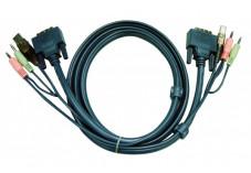 Aten 2L-7D02U cordon KVM DVI/USB/Audio - 1,80M