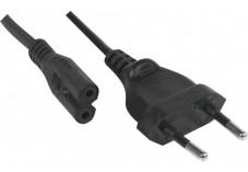 Cordon d'alimentation bipolaire PC CEE7 / C7 noir - 1,8 m