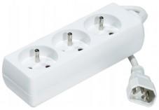 Multiprise 3 prises spécial onduleur avec fiche IEC C14 - 0,8m