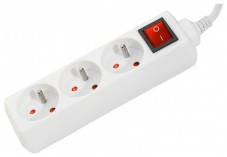 DEXLAN Multiprise 3 prises avec interrupteur blanche - 1,5 m