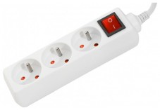 DEXLAN Multiprise 3 prises avec interrupteur blanche - 4,0 m