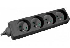 DEXLAN Multiprise 4 prises sans interrupteur noire - 1,5 m