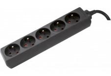 DEXLAN Multiprise 5 prises sans interrupteur noire - 4,0 m