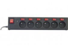 Multiprise protégée prafoudre 6 prises avec interrupteur individuel