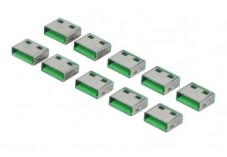 Lot de 10 bouchon-cadenas de sécurisation de port USB type à codage Vert
