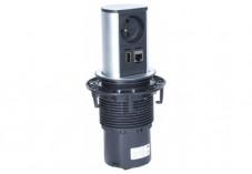BACHMANN Multiprise encastrable ELEVATOR 1 prise + 1  RJ45 + 1 USB