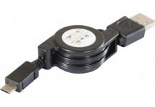 Cordon rétractable USB 2.0 A / micro B noir 0,80 m