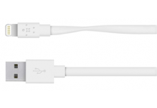 Câble Lightning plat de charge vers USB BELKIN - 1,22m Blanc