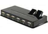 Hub 10 ports USB 2.0 avec 2 ports articulés + alimentation