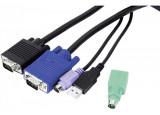 Cordon KVM combiné Type E3 Mixte USB+PS/2 - 5,00m