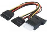 Doubleur d'alimentation SATA vers 2 SATA et 1 Molex - 30 cm