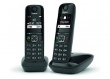 Gigaset AS690 DUO téléphone DECT noir - base + 2 combinés