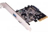Carte contrôleur 1 port USB-C + 1 USB-A en USB 3.1 Gen1 sur PCIe x1