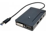 Carte graphique USB 3.0 HDMI + DVI double écran + Hub 2 ports USB 3.0