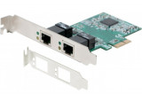 Dexlan Carte PCIe 1x DOUBLE RJ-45 Gigabit + Low Profile