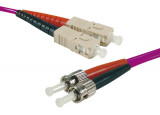 Jarretière optique duplex multimode OM3 50/125 SC-UPC/ST-UPC violet - 10 m