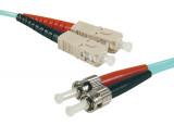 Jarretière optique duplex multimode OM3 50/125 SC-UPC/ST-UPC aqua - 1 m