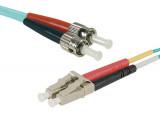 Jarretière optique duplex multimode OM3 50/125 LC-UPC/ST-UPC aqua - 0,5 m