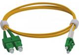 Jarretière duplex 2.0 mm OS2 SC-APC/LC-APC jaune - 1 m