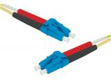 Jarretière optique duplex HD mono OS2 9/125 LC-UPC/LC-UPC jaune - 50 m